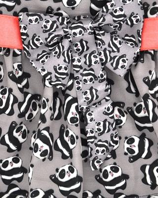 تصویر لباس سگ و گربه با طرح پترن پاندا Cando رنگ خاکستری سایز S