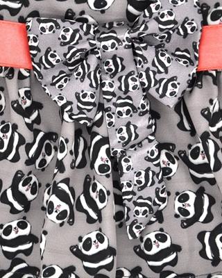 تصویر لباس سگ و گربه با طرح پترن پاندا Cando رنگ خاکستری سایز L