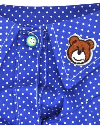 تصویر لباس سگ و گربه آبی طرح پیراهن مردانه خال خالی سایز XXL