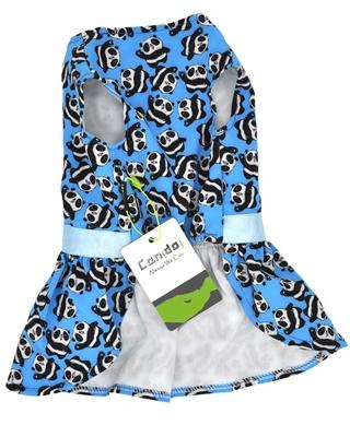 تصویر لباس سگ و گربه با طرح پترن پاندا Cando رنگ آبی سایز S