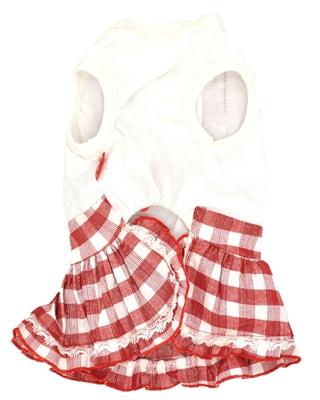 تصویر لباس دخترانه سگ و گربه Petstyle  با طرح چهارخانه سفید قرمز سایز M