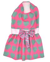 تصویر لباس دخترانه سگ و گربه با طرح قلب خال خال Cando سایز XL