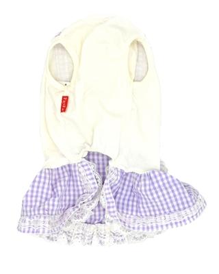 تصویر لباس سگ و گربه دخترانه چهارخانه سفید و بنفش FaFa سایز XL