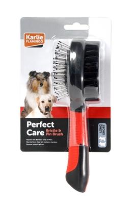 تصویر برس دو طرفه مخصوص سگ Karlie Flamingo سایز بزرگ  Bristle & Pin Brush