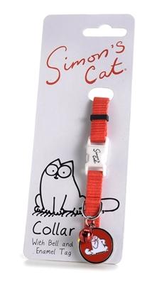 تصویر گردنبند Simon's Cat مخصوص گربه همراه با پلاک و زنگوله - رنگ قرمز