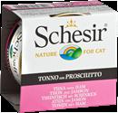 تصویر کنسرو Schesir مخصوص گربه با طعم ماهی تن و ژامبون