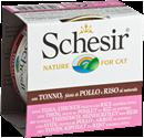تصویر کنسرو Schesir مخصوص گربه با طعم ماهی تن و مرغ و برنج