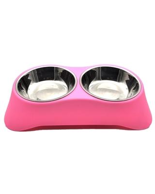 تصویر ظرف آب و غذای مخصوص سگ و گربه - رنگ صورتی