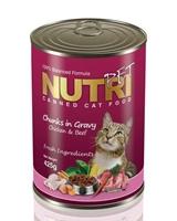 تصویر کنسرو گربه NutriPet با طعم مرغ و گوشت گاو - 425 گرم