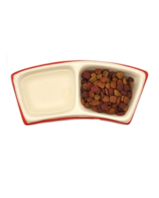 تصویر ظرف غذا و آب Ferplast رنگ قرمز با طرح ماهی مناسب برای گربه