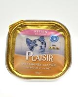 تصویر خوراک کاسه ای مرغ و شیر مخصوص بچه گربه Plaisir - 100 گرم