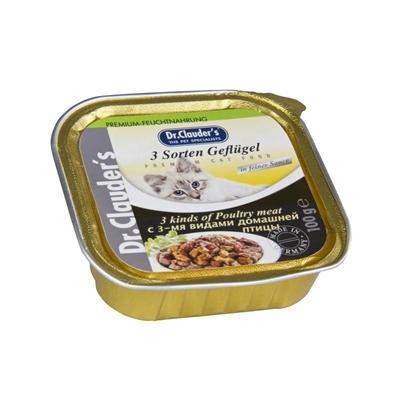 تصویر خوراک کاسه ای مخصوص گربه Dr.Clauder's تهیه شده از گوشت مرغ - 100 گرم