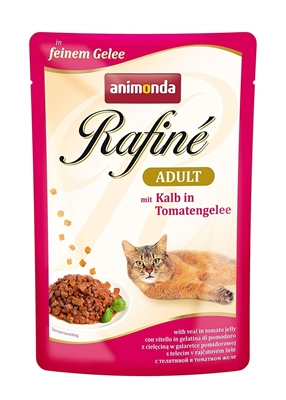 تصویر پوچ Rafine مخصوص گربه تهیه شده از گوشت گوساله و ژله گوجه فرنگی - 100 گرم
