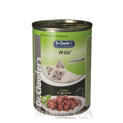 تصویر کنسرو مخصوص گربه بالغ Dr.Clauders  تهیه شده از گوشت شکار - 400 گرم