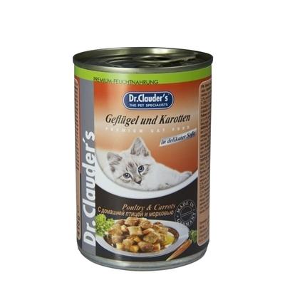 تصویر کنسرو مخصوص گربه بالغ Dr.Clauders تهیه شده از گوشت مرغ و هویج - 400 گرم