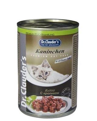 تصویر کنسرو مخصوص گربه بالغ Dr.Clauders  تهیه شده از گوشت خرگوش - 400 گرم