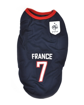 تصویر لباس سگ و گربه با طرح تیم ملی فرانسه XL