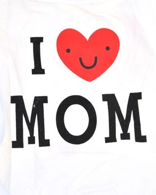 تصویر لباس سگ و گربه با I Love My Mom همراه قلب سایز S