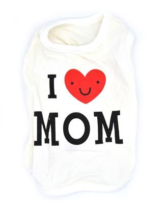 تصویر لباس سگ و گربه با I Love My Mom همراه قلب سایز M