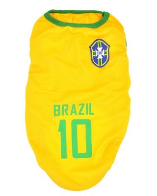 تصویر لباس سگ و گربه با طرح تیم ملی برزیل سایز 2XL