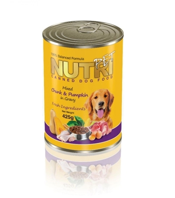 تصویر کنسرو مخصوص سگ NutriPet با طعم گوشت گاو و کدوتنبل - 425گرم