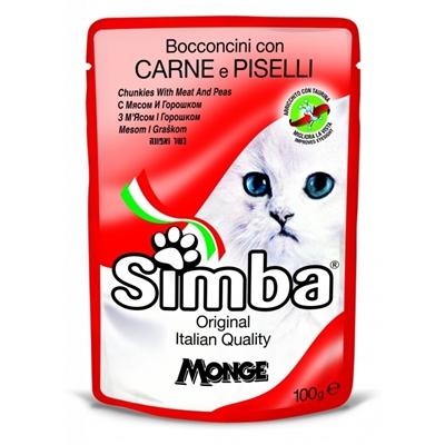 تصویر پوچ مخصوص گربه Simba با طعم مرغ، گوشت گاو و نخود فرنگی