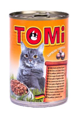 تصویر کنسرو Tomi مخصوص گربه با طعم گوشت اردک و جگر در آب گوشت - 400 گرم