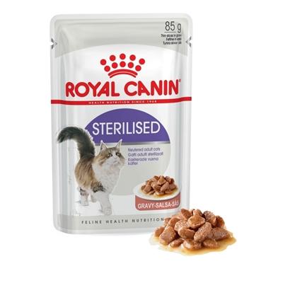 تصویر پوچ Royal Canin مدل STERILISED در آبگوشت (Gravy) مخصوص گربه بالغ عقیم شده - 85 گرم