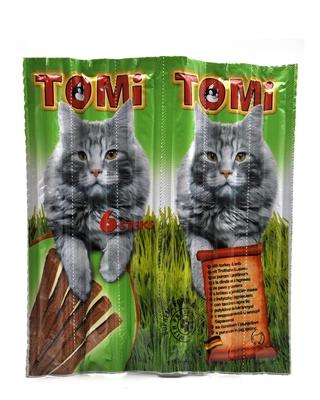 تصویر تشویقی مدادی نرم Tomi مخصوص گربه با طعم بوقلمون و گوشت گوسفند بسته 6 عددی