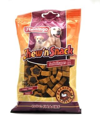 تصویر اسنک تشویقی مخصوص سگ Flamingo مدل Chew'n Snack با طعم گوشت مرغ و گوشت گاو (تکه های ستاره ای)