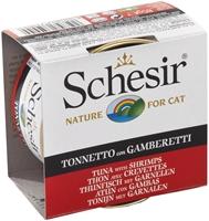 تصویر کنسرو Schesir مخصوص گربه با طعم ماهی تن و گوشت گاو و برنج