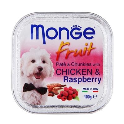 تصویر پوچ میوه ای Monge با تکه های تمشک و مرغ مخصوص سگ - 100 گرم