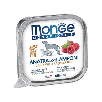 تصویر خوراک کاسه ای Monge منوپروتئین مخصوص سگ تهیه شده از گوشت اردک و تمشک - 150 گرم