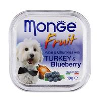 تصویر خوراک کاسه ای مخصوص سگ Monge با تکه های بلوبری و گوشت بوقلمون - 100 گرم