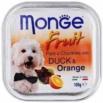 تصویر خوراک کاسه ای مخصوص سگ میوه ای Monge تهیه شده از تکه های پرتغال و گوشت اردک 100 گرم