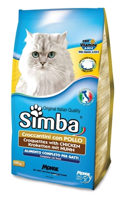تصویر غذای خشک مخصوص گربه بالغ Simba تهیه شده از گوشت مرغ - 400گرم