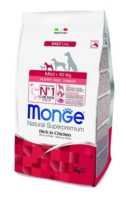 تصویر غذای خشک مخصوص توله سگ های نژاد کوچک Monge تهیه شده از گوشت مرغ - 3 کیلوگرم