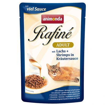 تصویر پوچ Rafine مخصوص گربه حاوی ماهی سالمون و میگو در سس سبزیجات - 100 گرم