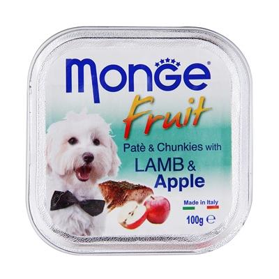 تصویر پوچ میوه ای Monge با تکه های سیب و گوست بره مخصوص سگ 100 گرم