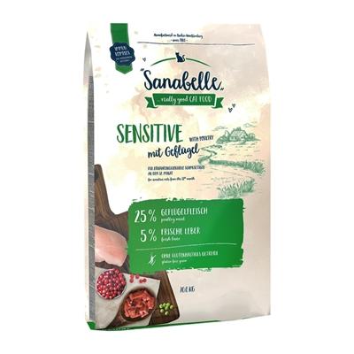 تصویر غذای خشک مخصوص گربه بالغ Sanabelle مدل Sensitive مناسب برای گربه های بد اشتها با طعم گوشت طیور - 400 گرم