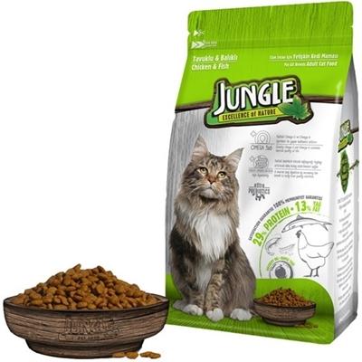 تصویر غذای خشک Jungle مخصوص گربه بالغ با طعم مرغ و ماهی - 500 گرم