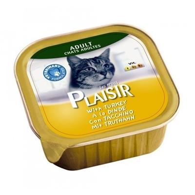 تصویر خوراک کاسه ای بوقلمون مخصوص گربه بالغ Plaisir - 100 گرم