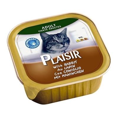 تصویر خوراک کاسه ای گوشت خرگوش مخصوص گربه بالغ Plaisir - 100  گرم