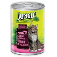 تصویر کنسرو مخصوص گربه Jungle تهیه شده از ماهی سالمون و میگو - 415 گرم