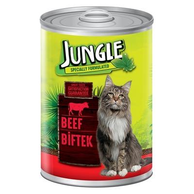 تصویر کنسرو مخصوص گربه Jungle تهیه شده از گوشت گاو - 415 گرم