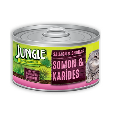 تصویر کنسرو مخصوص گربه Jungle تهیه شده از ماهی سالمون و میگو - 85 گرم