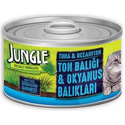 تصویر کنسرو مخصوص گربه Jungle تهیه شده از ماهی تن و اقیانوس - 85 گرم