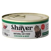 تصویر کنسرو گربه Shayer تهیه شده از مرغ و گوشت گوساله -110گرم