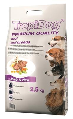 تصویر غذای خشک TropiDog مخصوص سگ بالغ نژاد کوچک با طعم بره و برنج 2.5 کیلوگرم