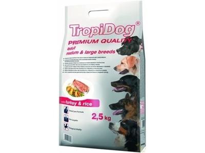 تصویر غذای خشک TropiDog مخصوص سگ بالغ نژاد کوچک با طعم بوقلمون و برنج 2.5 کیلوگرم